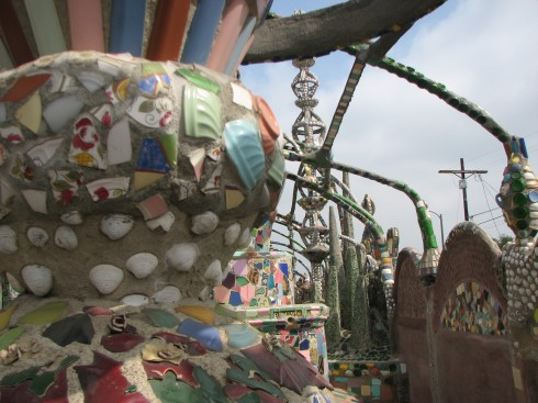 close up of ceramics at watts towers