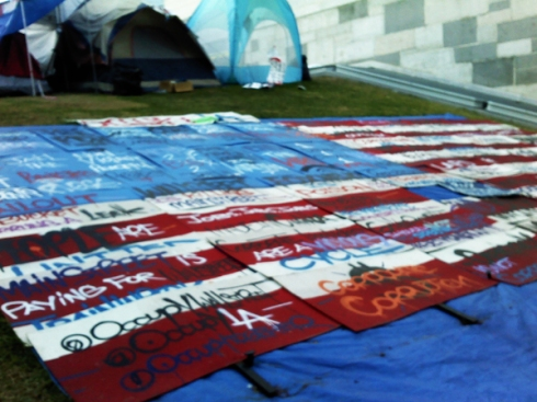 Occupy LA American flag of picket signs
