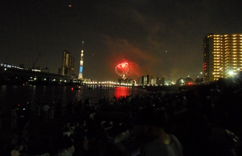 fireworks over sumida river
