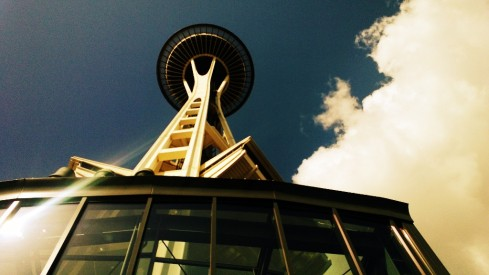 space needle from the ground