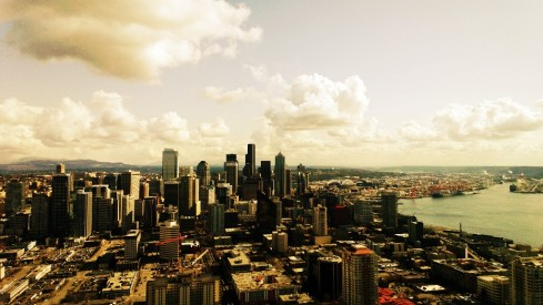 downtown seattle from the space needle