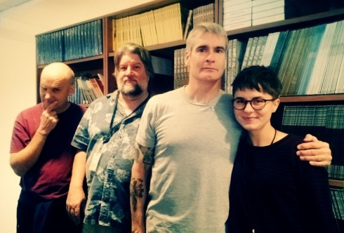 Ian MacKaye, our archivist Jeff Place, Henry Rollins, and intern Bailey Cameron