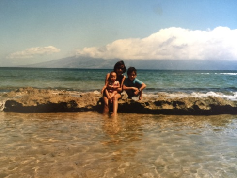 My mom with me (the baby) and my brother Allan, I think on Maui, 1986